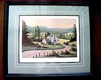 Limited Edition Lithograph by Bill Saunders Hillside View 70 of 500 Certificate of Authenticity Framed Under Glass