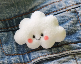 Kawaii Felt Cloud Brooch made to order