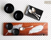 Silver Feathers on Wooden Serving Board, Hand Painted, rustic wood, Australian red gum, Upcycled Eco Gift, Wedding Kitchen Tea, Country