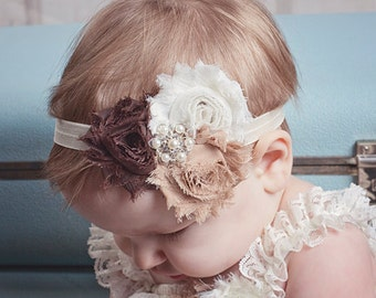 Baby headband, Brown Ivory Shabby Headband, Shabby Chic headband, Baby headbands, Baby girl headband, toddler headband
