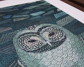 Owl In Moonlight - A3 illustration print
