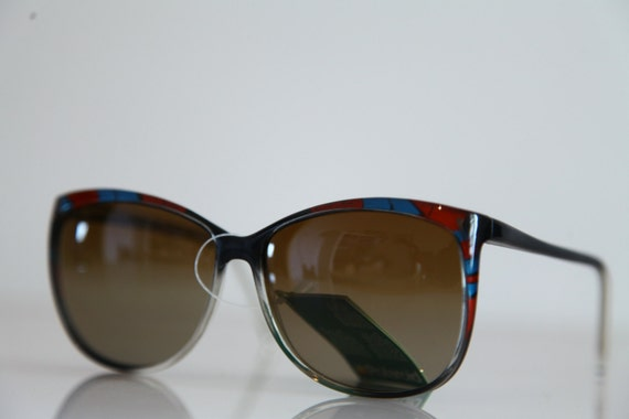 Vintage Polaroid Blue, Deep Red, Crystal Black  Frame, Polarizing Lenses. POLAROID CLASSIC  8750B. Made in Italy