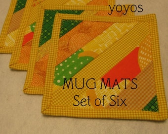 MUG MATS, PINEAPPLE , Yellow,  Orange,  Strip Pieced,  Home  Decor, Kitchen Décor,  Country Decor,  Summer, Gift, Hostess Gift