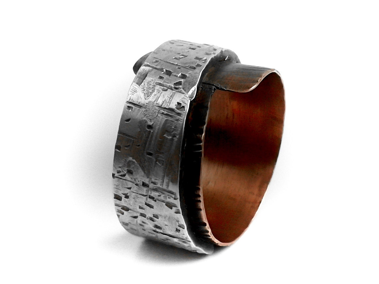 Men S Rustic Sterling Silver Amp Copper Ring Distressed