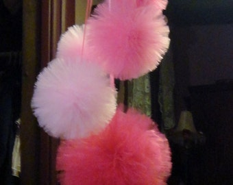 "Tulle Pom Poms, One 12"" Two 8"" and Two 6""  Birthday Party Decorations, Nursery Decoration, Wedding Decorations, Baby Shower"