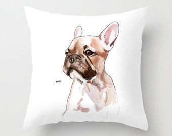 Watercolor Pet Portrait, from your photo, and  Pillow print