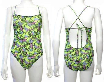 Vtg 90s Neon Mesh Floral Transparent Swimsuit Bathing Suit Leotard S-M