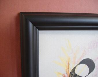 Black 8 x 10 handmade wood picture frame satin finish