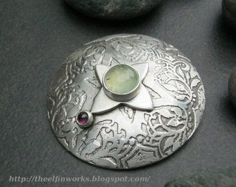 Large round pendant,with pale green prehnite and red garnet gemstones, handmade etched sterling silver, unique one of a kind design