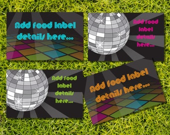 Disco Party Tent Cards, Food Labels, Buffet Cards, Food Tags, Labels - Instantly Downloadable File