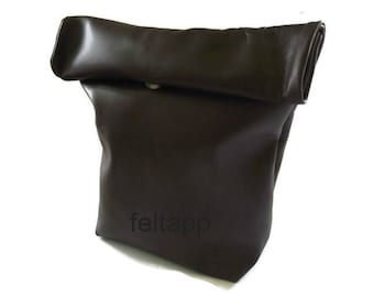 Leather Lunch Sack,  Work Lunch Bag, Snack Bag, Lunch Bag, Lunch Tote, Food Bag, Paper Bag,   Italian  Nappa Leather