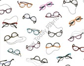 Hip Eyeglasses White - Timeless Treasures FUN-C1487-WHITE (sold by the 1/2 yard)