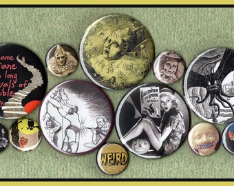 "12 Macabre MIXED SIZE set 1"" inch buttons AND 2.25 aka 2 1/4 inch morbid oddity button set"
