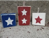 Firecracker Patriotic Memorial Day, Fourth of July, Labor Day home decor shelf sitter blocks