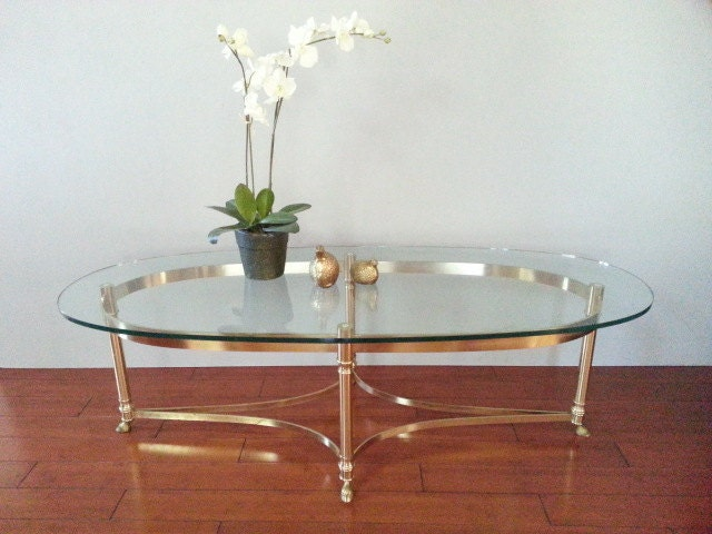 Coffee Cocktail Table Labarge Brass Hoof Foot Hollywood