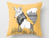 Orange Fox Pillow / Fox Throw Pillow / Orange Pillows / Double Sided Throw Pillow / Faux Down Insert / Fox Decor / Summer Pillows