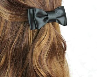 Black Halloween Hair Bow, Black Satin Bow Hair Clip, Black Wedding Accessories; Gothic Bow