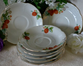 Vintage Saucers~ Ucagco China, 7 Berry Dishes Occupied Japan Plates, Strawberry China, Shabby Chic, Tea Party Decor