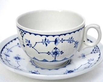 Blue and White Teacup Furnivals Limited China Denmark Vintage Blue Floral Teacup Saucer Set Tea Party Decor