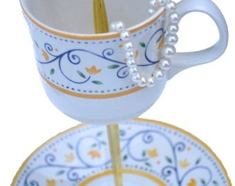 Jewelry Stand Teacup Jewelry Display Tea Cup Saucer Tidbit Stand Blue and Yellow Tiered Catchall Dish
