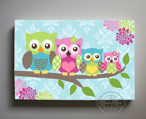 Owl decor girls wall art large panoramic canvas art owl for Canvas prints childrens bedrooms