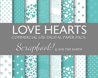 Instant Download Love Hearts Wallpaper Digital Collage Sheets 12x12 inch Set of 16 Digital Papers Aqua Green Commercial Use Kit SDTE0022