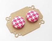 Button Earrings Fabric Button Earrings -  Pink Houndstooth Button Earrings - Stud Earrings - Hypoallergenic earrings