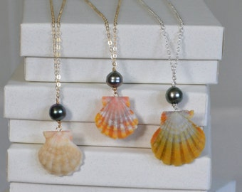 Lei La Kahiki- Sunrise shell necklace with Tahitian pearl on 14k gold fill, rose gold, or sterling silver