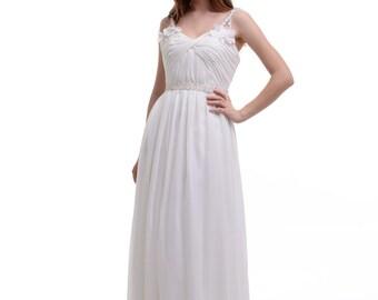 A-Line Bridesmaid Dress, Spaghetti Straps V-neck Floor-Length Chiffon Bridesmaid Dress/Homecoming Dress/Prom Dress With Ruffle Flowers