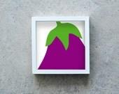 Eggpalnt art print, purple vegetable poster, veggie wall art, kitchen decoration, healthy diet, square art print, modern art