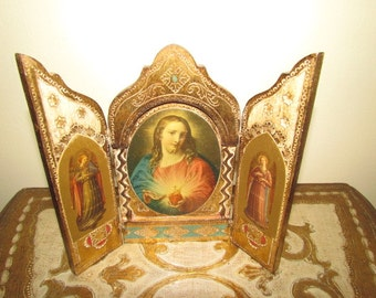Antique Vintage Florentine Triptych Gold Gilt Gesso Wooden Jesus Italy Italian
