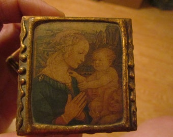 Vintage Florentine Gesso Gold Gilt Madonna Wooden Box Italy Italian
