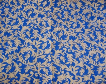 Royal Blue And Gold Poly Silk Brocade Fabric Fat Quarter