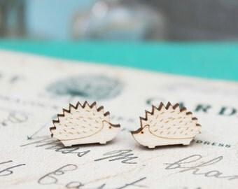 Laser Cut Wooden Hedgehog Stud Earrings