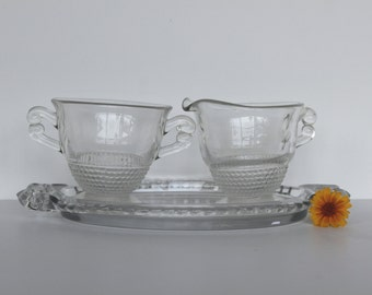 Petite Glass Creamer and Sugar Set With Tray, Depression Glass