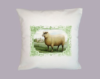 Gorgeous Vintage Framed Sheep illustration HANDMADE Pillow cover 16x16 - Choice of fabric