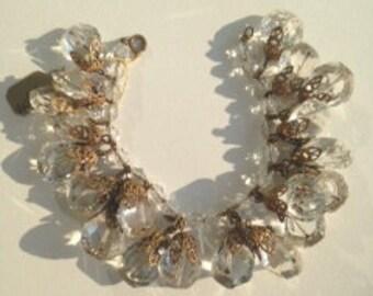 De Marco Real Crystal & Gold Filigree Bracelet