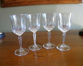 Vintage Crystal Wine Glasses 4 With Abstract Butterflies and Triangular Designs 6 oz by Anchor Hocking