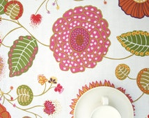 Tablecloth white green purple pink Floral Botanical Modern Scandinavian Design ,also napkins , runners , curtains available, great GIFT