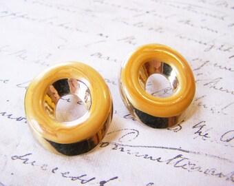Vintage Dainty Gold Tone Orange Enameled Circle Post Earrings / Gift for Her / J250