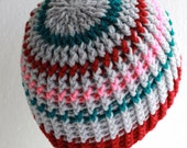 Hand Crochet Winter Hat Thick and Warm Cap Ice Grey with Teal and Pink and Burgundy One Size Fits Most Ready To Ship