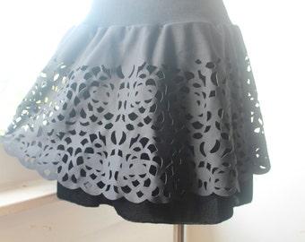 Cutout Skirt, Gothic Lolita Skirt, Black Mini, Vintage