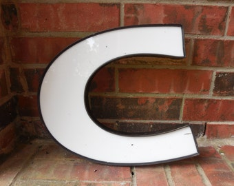 "Large Reclaimed Plastic Sign Capital Letter ""C"", Creative Wedding & Birthday, Industrial Salvage, Home Decor, Office Decor, Industrial Decor"