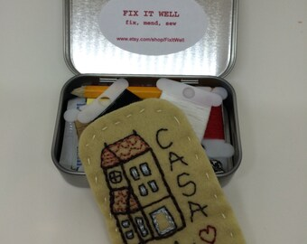 Travel Sewing Kit with Italian Happy Home--TSA ok for travel