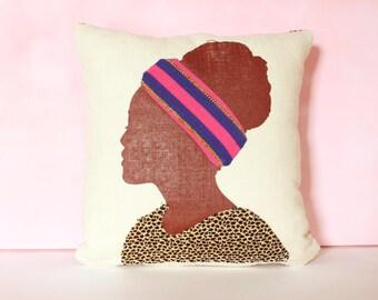Decorative Pillow Cushion, Animal Print Decor, Tribal Pillow, Unique Pillow, African Silhouette Pillow, Animal Print Pillow, 14 x 14 Pillow