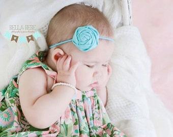 Light Teal Rosette Flower Headband, Baby Headband, Rosette Headband, Teal Headband, Photography Prop
