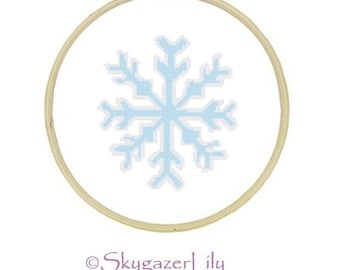 Easy Cross Stitch Pattern - Light Blue Snowflake - Printable Beginner PDF Instant Download