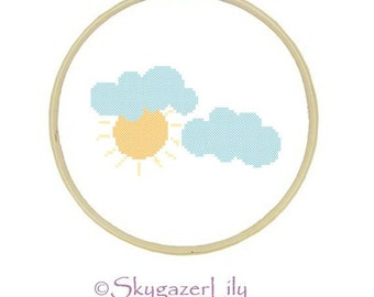 Beginner Cross Stitch Modern Pattern - Partly Cloudy - Sun Sunshine Clouds - Instant Download Printable PDF
