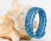 Ocean Blue, Sun and Sky, Seed Beads, Beaded Bracelet, Lavender Beads, Soft Green, Wire Wrap Bracelet, Gift Under 20, Birthday Gift,
