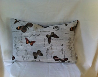 Single Designer Fabric with Butterfly Design.Accent Kidney Pillow Cover with Coordinating Back.